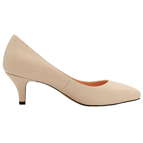 MERUMOTE Womens Heeled Pumps Middle Thin Heels Shoes For Daily Usual Wear Apricot Matte vVFWo7M