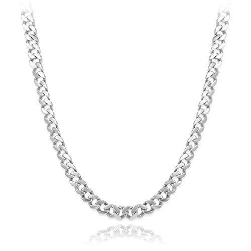 Beitzim Mens Italian Solid 925 Sterling Silver Cuban Curb Link Chain Necklace 26