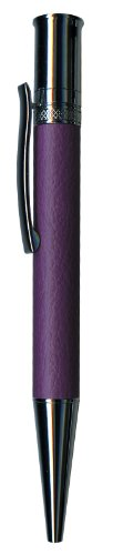 Pierre Belvedere Executive Line Chrome and Faux Leather Ballpoint Pen, Organic Flowers, Purple