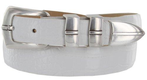Marin Silver Italian Calfskin Leather Designer Dress Golf Belt for Men (36, Alligator White) (Designer White Italian Leather)