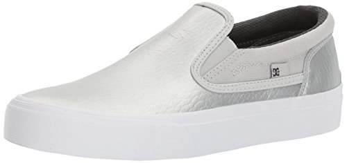 DC Women's Trase Slip-on SE Skateboarding Shoe, Silver, 7.5 B US