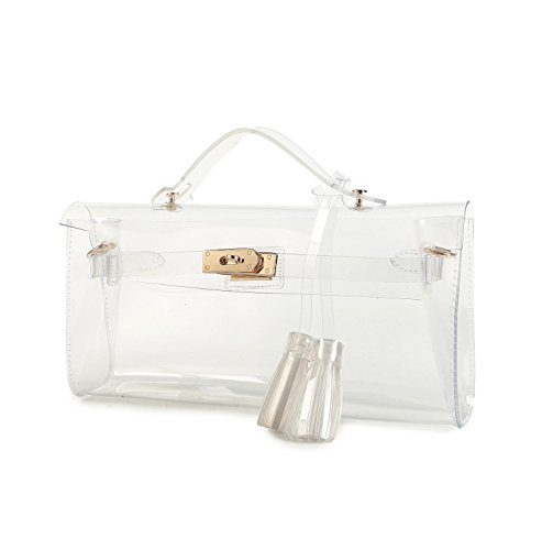 Lam Gallery Clear Purses and Handbags for Women Work NFL Stadium Approved Bags for Football Games Transparent Clutch Beach Bag PVC Plastic See Through Shoulder Crossbody Bags-Clear
