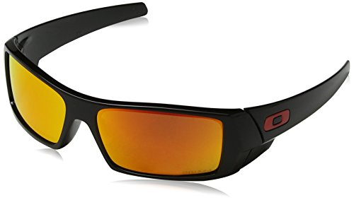 Oakley Men's OO9014 Gascan Rectangular Sunglasses, Polished Black/Prizm Ruby, 60 ()