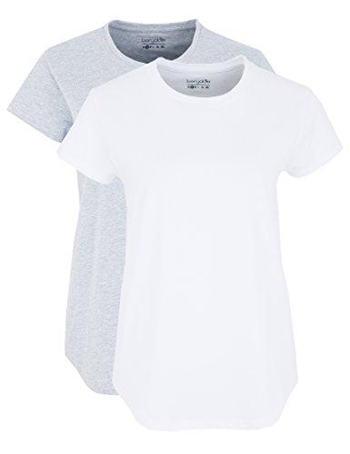 Berydale Bd324, Camiseta para Mujer (Pack de 2) Multicolor (Hellgrau/weiß Hellgrau/weiß)