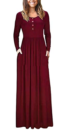 Pockets Button Maxi Sleeve with Womens Red Loose Long Dresses Casual up Wine Jaycargogo Pleated qPtwpZ