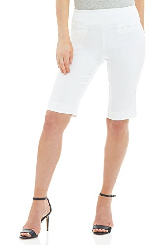 Rekucci Women's Ease in to Comfort Fit Pull-On Modern City Shorts (14SHORT,White)