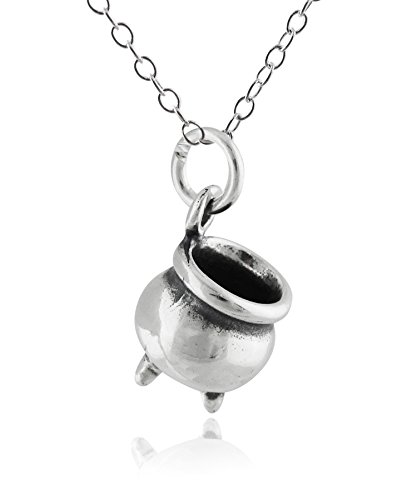 (Sterling Silver Witch's Cauldron Pendant Necklace, 18