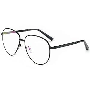 SojoS Aviator Clear Lens Metal Frame Men Women Glasses Eyeglasses Eyewear SJ5004 With Black Frame/Clear Lens