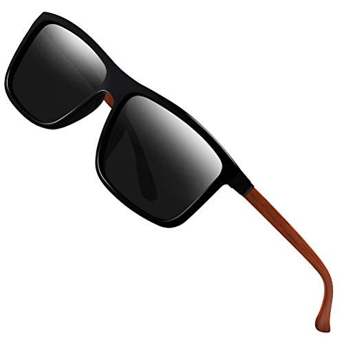 Polarized Sunglasses for Men Driving Mens Sunglasses Rectangular Vintage Sun Glasses For Men/Women Grey Lens/Black and Woodgrain Frame (Grey Vintage Lens)