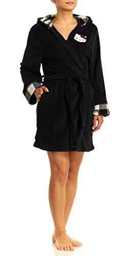 WebUndies.com Hello Kitty Comfy N Cozy Hooded Wrap Robe, Black, Medium
