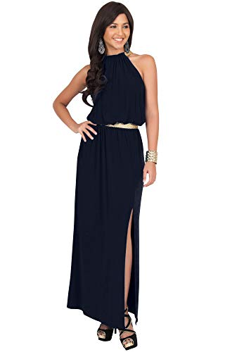 - KOH KOH Womens Long Halter Neck Sleeveless Sexy Summer Slit Split Belt Wedding Guest Bridesmaid Grecian Sun Sundress Gown Gowns Maxi Dress Dresses for Women, Navy Blue M 8-10