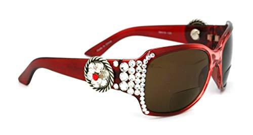 The Medallion, Rope, Bifocal Bling Women Sun glasses Reader, Adorned with Clear Swarovski Crystals, Sun Readers Glasses with Rope Edge Concho +1.50 +2.00 +2.50 +3.00 Burgundy Frame + Amber Lens. (Lens Burgundy Frame)