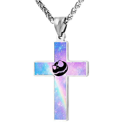 Quensk Halloween Devil Pumpkin Cross Necklace Christ Necklace Pendant Cross Prayer Fashion Accessories for Men Women]()