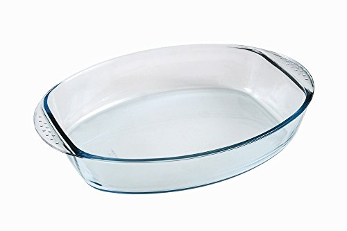 Marinex 4.4-Quart Prediletta Oval Glass Roaster with Handles, Large, Clear