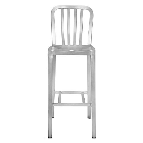 Renovoo Aluminum Bar Stool, Commercial Quality, Brushed Aluminum Finish, 30 Inch Seat Height, Indoor Outdoor Use, 1 Pack