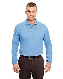 (UltraClub mens Long-Sleeve Classic Pique Polo(8532)-Cornflower-L)