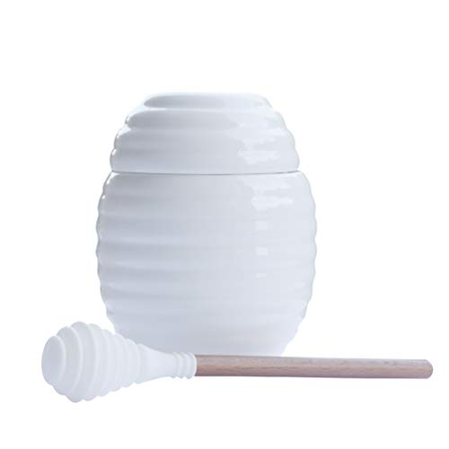 Itikky Honey Pot Jar Porcelain with Dipper Silicone 9.5 fl oz White