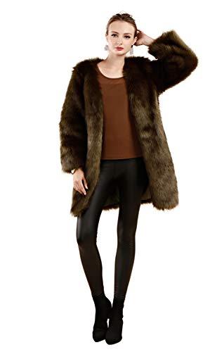 De Women Abrigo Folobe Invierno Darkgreen Cálido ' Piel Sintética d46HxXH