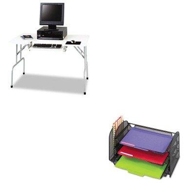 KITSAF1935GRSAF3265BL - Value Kit - Safco Folding Computer Table (SAF1935GR) and Safco Mesh Desk Organizer (SAF3265BL)
