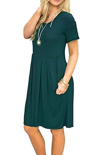 Abiti Estiva Laden Tasche Altalena Verde Donna Casual Vestito Con Manica Da Corta Bequemer Midi gy6vfYbI7