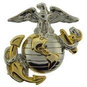 US Marine Corps Emblem, E2, Left Cap Gold Silver USMC Lapel Hat (Cap Hat Pin)