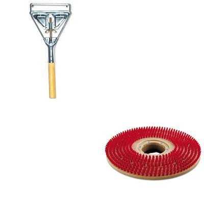 KITBWKPPP19UNS605 - Value Kit - Boardwalk Plastic Pad Holder/Drive Block (BWKPPP19) and Quick Change Metal Head Mop Handle for #20 amp; Up Heads, 63quot; Wood Handle - Head Quick Change Plastic Mop