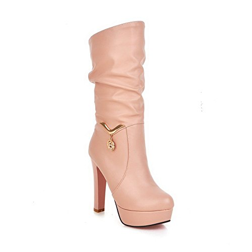 1TO9 Ladies Metal Chain Platform Chunky Heels Imitated Leather Boots Pink 6x0WI