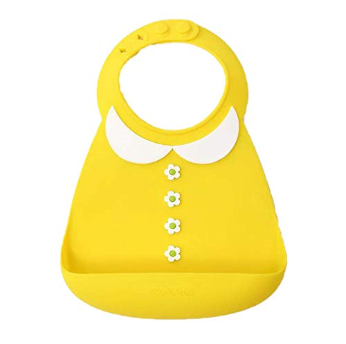 (BabyStyle-Best quality -Boss Baby Tie Bib Cool Design waterproof silicone bibs-soft and smooth material (yellow))