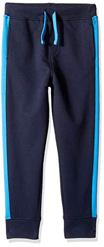 LOOK by Crewcuts Boys' Side Stripe Sweatpant, Navy, Small (6/7)