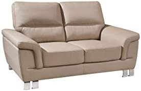 Outstanding Amazon Com Homeroots 37 Modern Beige Leather Loveseat Bralicious Painted Fabric Chair Ideas Braliciousco