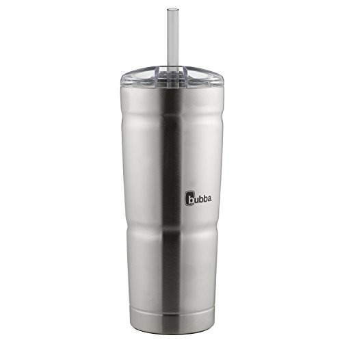 bubba Envy S Vacuum-Insulated Stainless Steel Tumbler with Straw, 24 oz., Clear Lid (Best Insulated Tumbler With Lid)