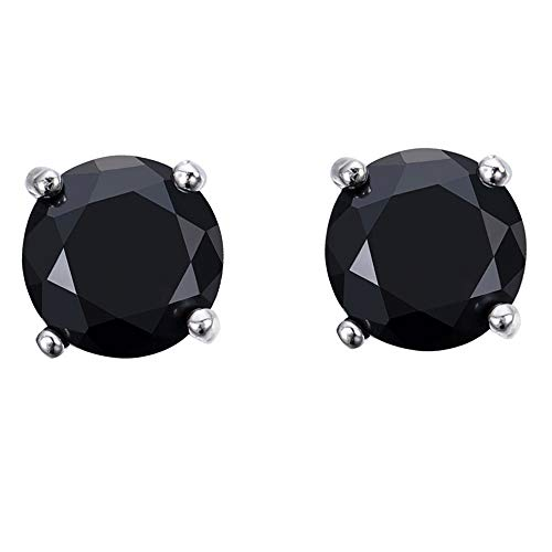 SiBeXu 6MM Black Hematite Circle Round Stud Earrings with 18K White Gold Plated CZ - Earrings Ball Hematite