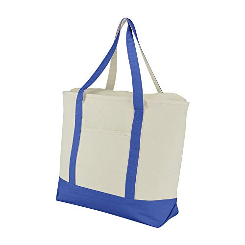 """DALIX 22"""" Large Cotton Canvas Zippered Shopping Tote Grocery Bag in Royal Blue"""