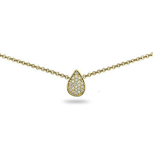(Yellow Gold Flashed Sterling Silver Cubic Zirconia Teardrop Pave Dainty Choker Necklace)