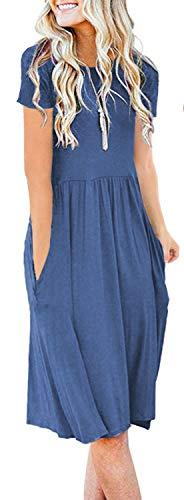 AUSELILY Women's Short Sleeve Pockets Empire Waist Pleated Loose Swing Casual Flare Dress (L, Beja Blue)