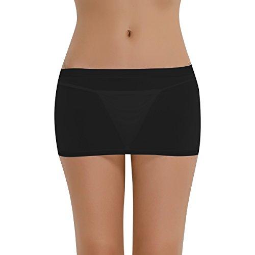 Freebily Sexy Women's Micro Mini Skirts Sheer See Through Pencil Skirt Bodycon Nightclub Dress Black one -