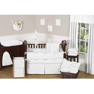 Sweet Jojo Designs 9-Piece Solid White Minky Dot Neutral Baby Girl Boy Unisex Bedding Crib Set by Sweet Jojo Designs