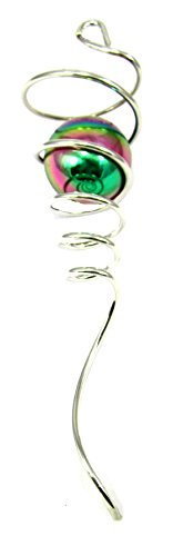WorldaWhirl Wind Spinner Stabilizer Gazing Ball Spiral Tail Cyclone Yard Twister (Silver Wire, Multi Color Hollow Aluminium (Wind Spiral Spinner)