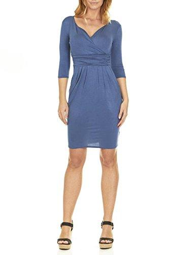 (Seranoma Womens Basic V-Neck Sleeve Dress - 3/4 Sleeve Wrap Pencil Dress with Pockets (S, Denim))