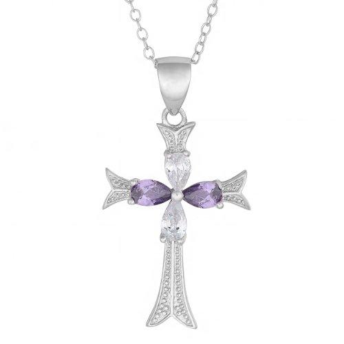 Kooljewelry Sterling Silver Purple Cubic Zirconia Cross Pendant Necklace (18 inch)
