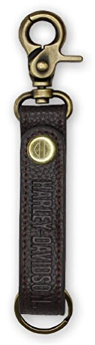 Harley-Davidson Embossed H-D Brown Leather & Brass Accent Keychain KY51668 by Harley-Davidson