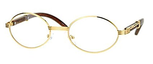 CY SUN Mens CLASSY Style Clear Lens EYE GLASSES Wooden Print Oval Gold - Frames Wooden Glasses