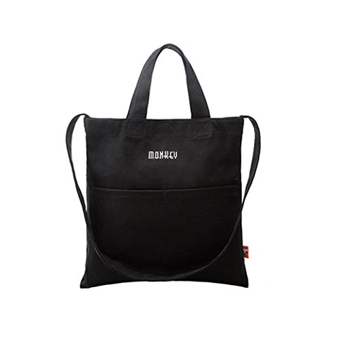 Canvas Tote Bag Hanbag Girl Women Crossbody Shoulder Bag Fashion Tote Bag Messenger Bag Black