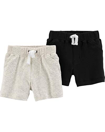 Carter's Baby Boys 2 Pack Pants, Heather/Black Shorts, 18 Months