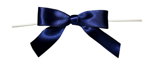 Reliant Ribbon Satin Twist Tie Bows - Small Ribbon, 5/8 Inch X 100 Pieces, Navy ()