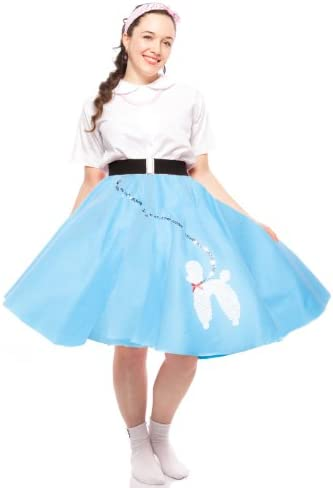 """31/"""" /_ Length 25/"""" Blue SATIN 50s Poodle Skirt /_ Adult Size SMALL /_ Waist 25/"""""""