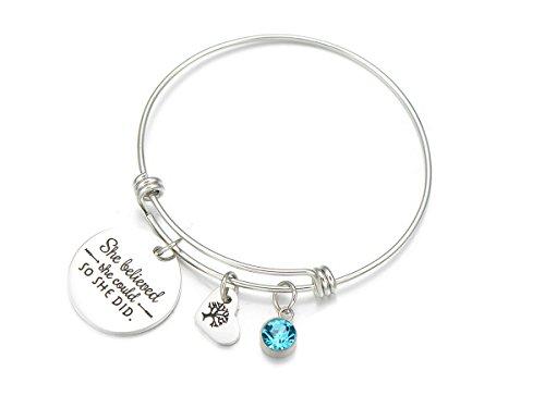 YHMM Inspirational Words 'She Believed She Could So She Did' Imitation Birthstone Bangle Bracelet For Women (Imitation Stone)