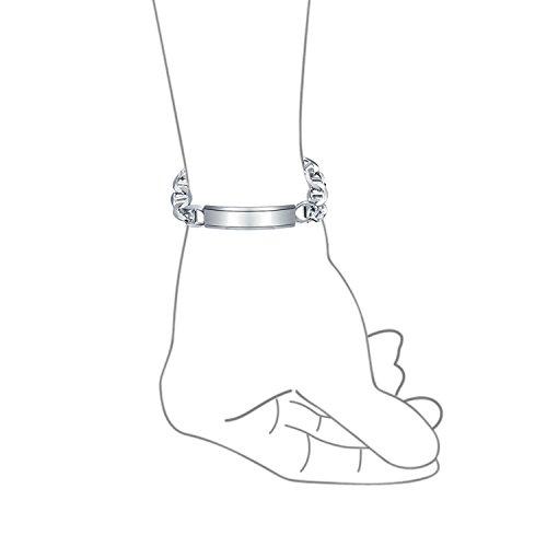 Bling Jewelry Argent Mens Marina Bracelet d'identification de chaîne 250 jauge 9en Italie une gravure gratuite
