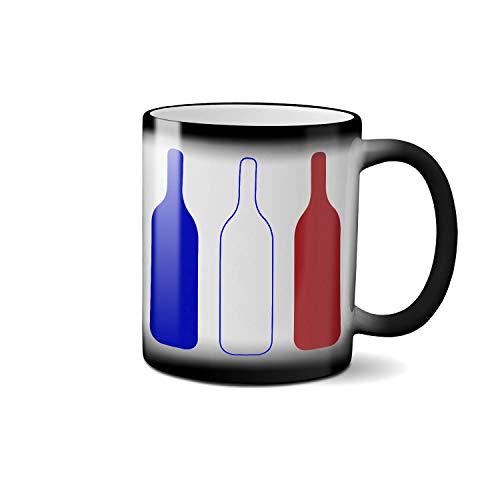 Bleu Blanc Vin Rouge Blue White Red France Flag Colors MAGIC Coffee & Tea Cool Heat Changing Color Heat Sensitive Cup Funny Gift Ceramic Mug 330ml/11 oz. (Blanc Vin)