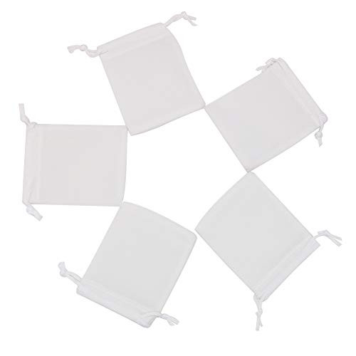 HRX Package Mini Velvet Jewelry Pouches with Drawstring, 20PCS White Velveteen Cloth Bags 2.8